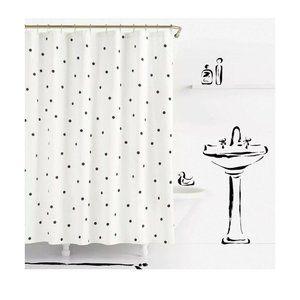Kate Spade Deco Dot Shower Curtain White Black Pol